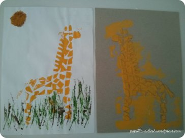 Pappdruck und Kantendruck Giraffe